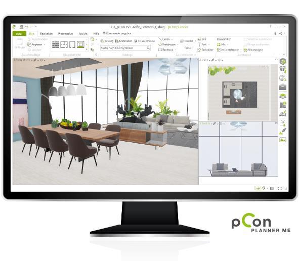 pCon.planner ME sur un écran d'ordinateur de bureau